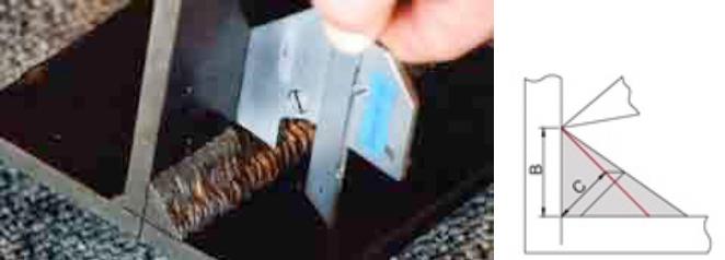 wizualna ocena spoin vt - spoinomierz